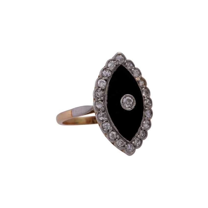 Ring with onyx plate in navette shape, and diamonds approx 0,45 ct, - photo 2