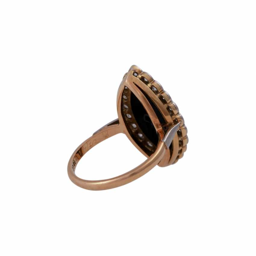 Ring with onyx plate in navette shape, and diamonds approx 0,45 ct, - photo 3