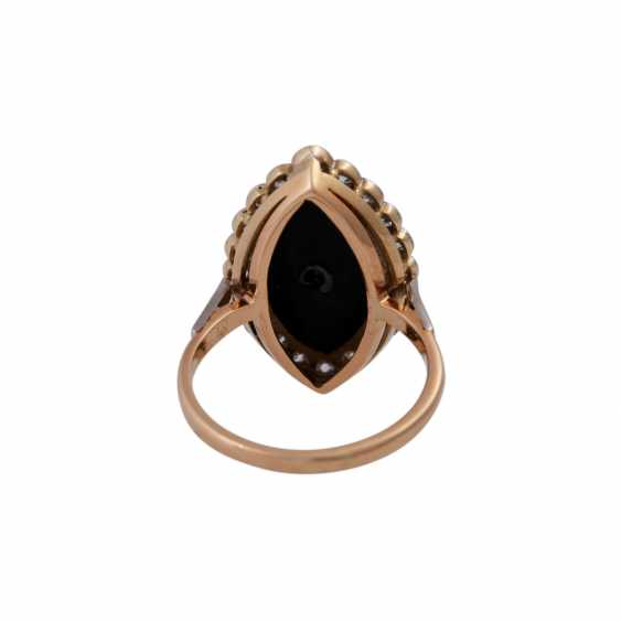 Ring with onyx plate in navette shape, and diamonds approx 0,45 ct, - photo 4