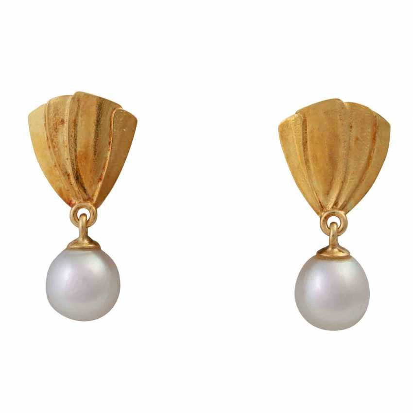 Earrings with cultured pearl drop - photo 1