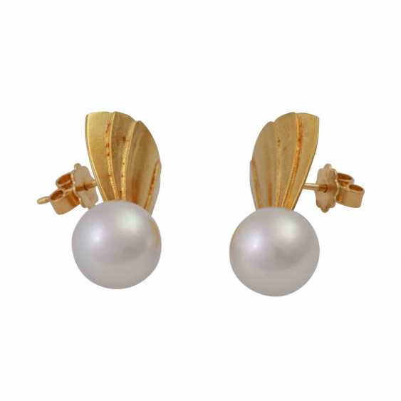 Earrings with cultured pearl drop - photo 2