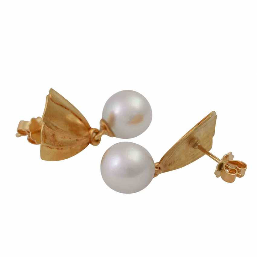 Earrings with cultured pearl drop - photo 3