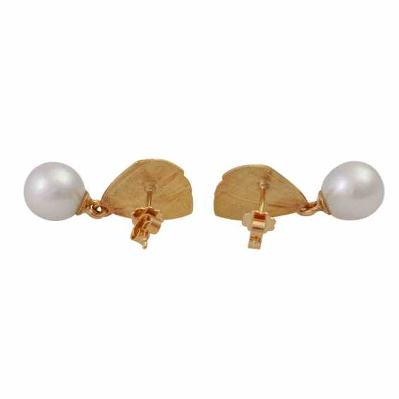 Earrings with cultured pearl drop - photo 4