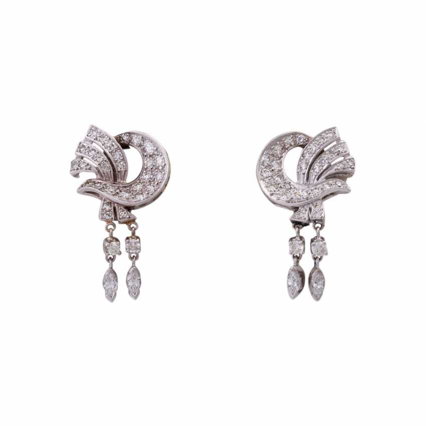 Pair of ear plugs with diamonds, together CA. 2 ct - photo 1