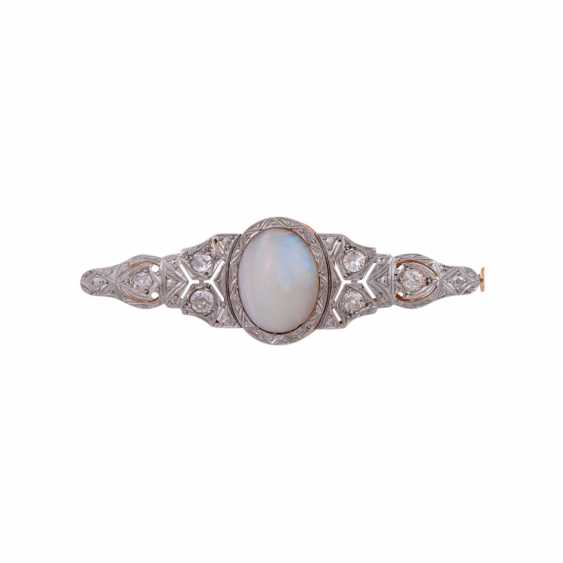 Brooch with oval Opal and diamonds together approximately 0.8 ct, - photo 1