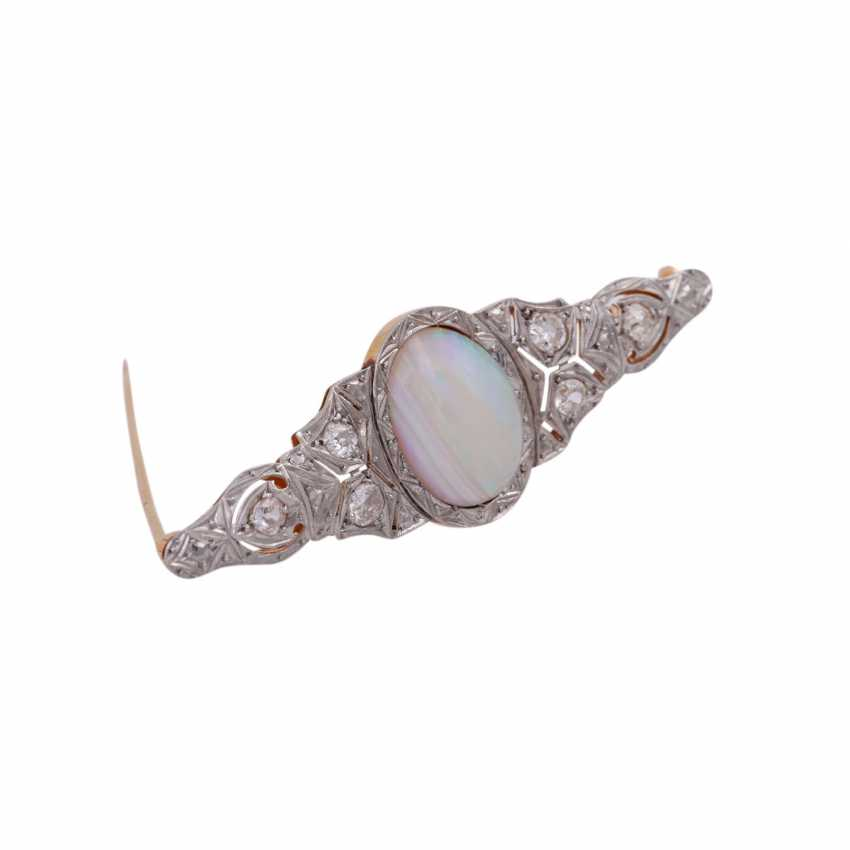Brooch with oval Opal and diamonds together approximately 0.8 ct, - photo 2