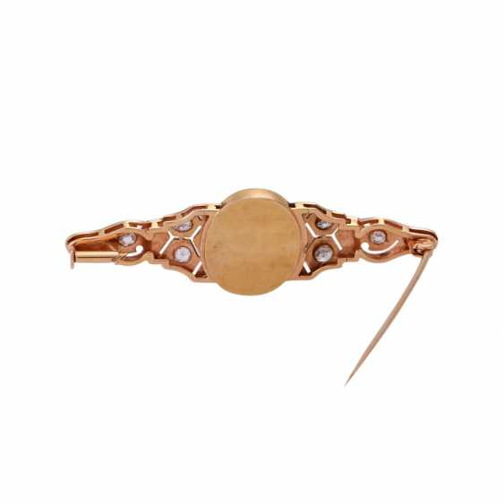 Brooch with oval Opal and diamonds together approximately 0.8 ct, - photo 3