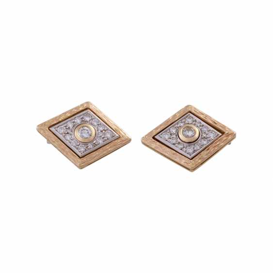 Pair of cufflinks with brilliant-cut diamonds, together CA. 1 ct, - photo 1