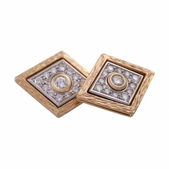 Pair of cufflinks with brilliant-cut diamonds, together CA. 1 ct, - photo 5