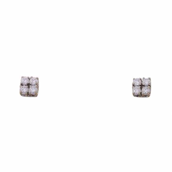 Stud earrings with 4 brilliant-cut diamonds, all together approximately 0.44 ct, - photo 1