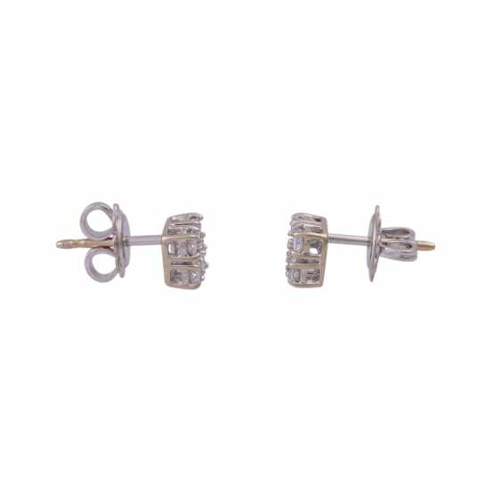 Stud earrings with 4 brilliant-cut diamonds, all together approximately 0.44 ct, - photo 2