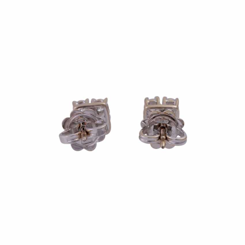 Stud earrings with 4 brilliant-cut diamonds, all together approximately 0.44 ct, - photo 4