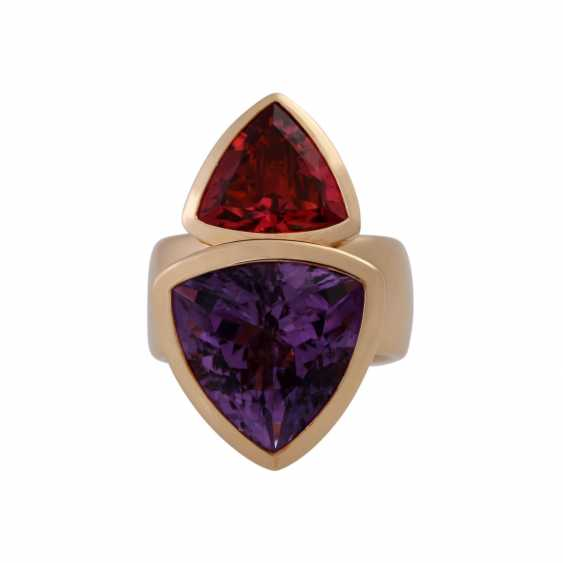 Ring with faceted Amethyst and tourmaline - photo 1