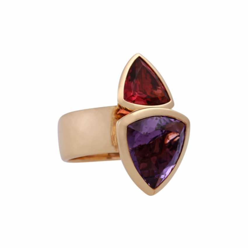 Ring with faceted Amethyst and tourmaline - photo 2