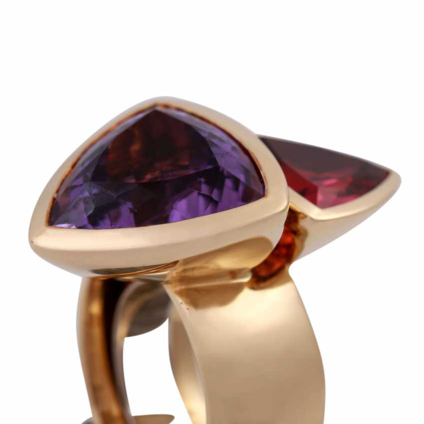 Ring with faceted Amethyst and tourmaline - photo 5