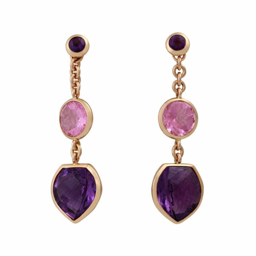 Earrings with 2 amethysts and 1 pink tourmaline, - photo 1
