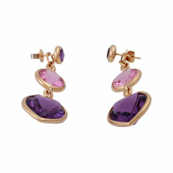 Earrings with 2 amethysts and 1 pink tourmaline, - photo 2