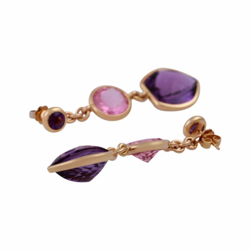 Earrings with 2 amethysts and 1 pink tourmaline, - photo 3