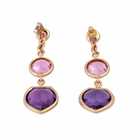 Earrings with 2 amethysts and 1 pink tourmaline, - photo 4