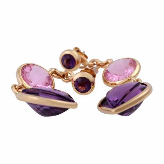 Earrings with 2 amethysts and 1 pink tourmaline, - photo 5