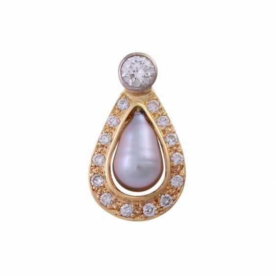 Pendant with diamonds u pearl - photo 1