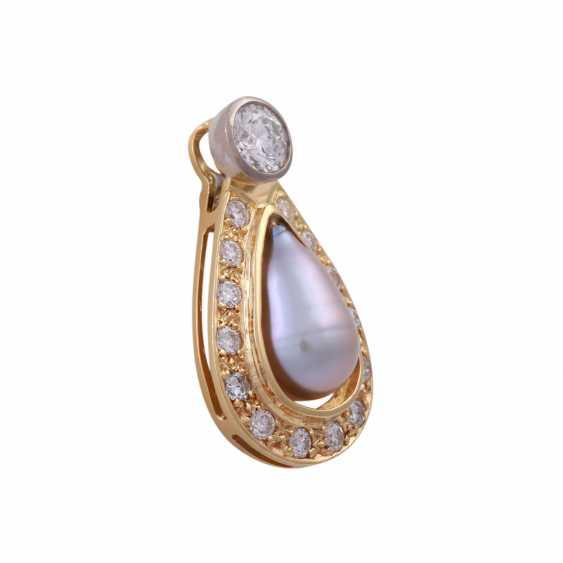 Pendant with diamonds u pearl - photo 2