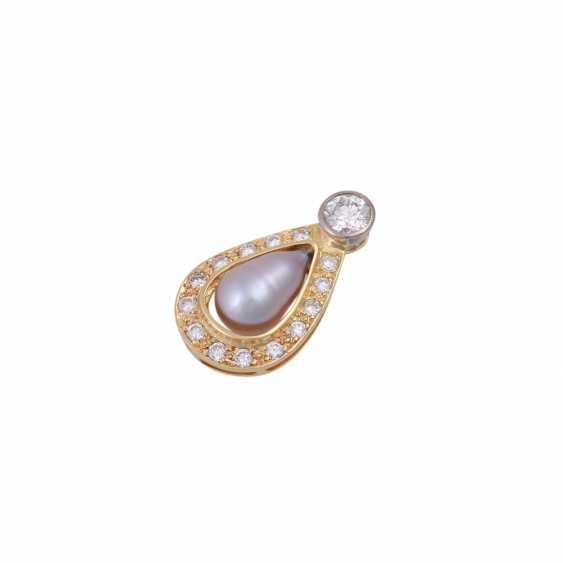 Pendant with diamonds u pearl - photo 4