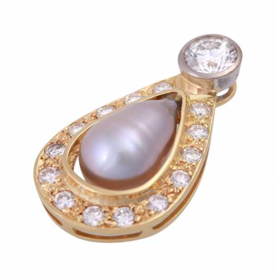 Pendant with diamonds u pearl - photo 5