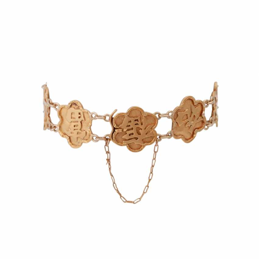 Gold bracelet with Chinese characters, - photo 2