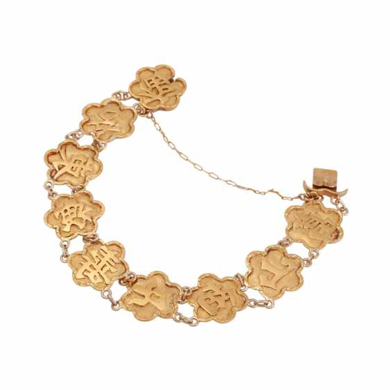 Gold bracelet with Chinese characters, - photo 3