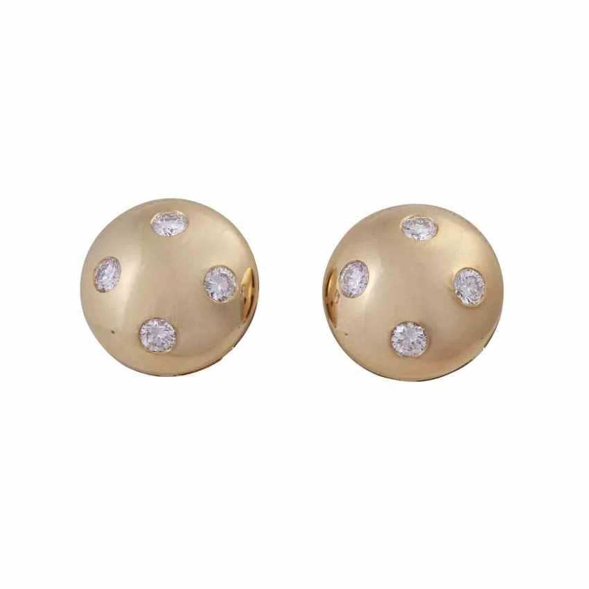 Pair of earrings with brilliants approx 1.8 ct, - photo 1