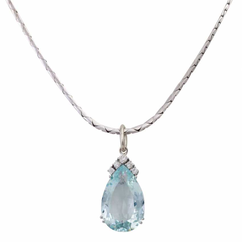 Chain and pendant with aquamarine drops approximately 10 ct, - photo 2