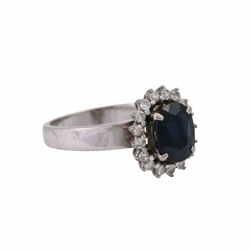 Ring with sapphire approx 2 ct and diamonds - photo 2
