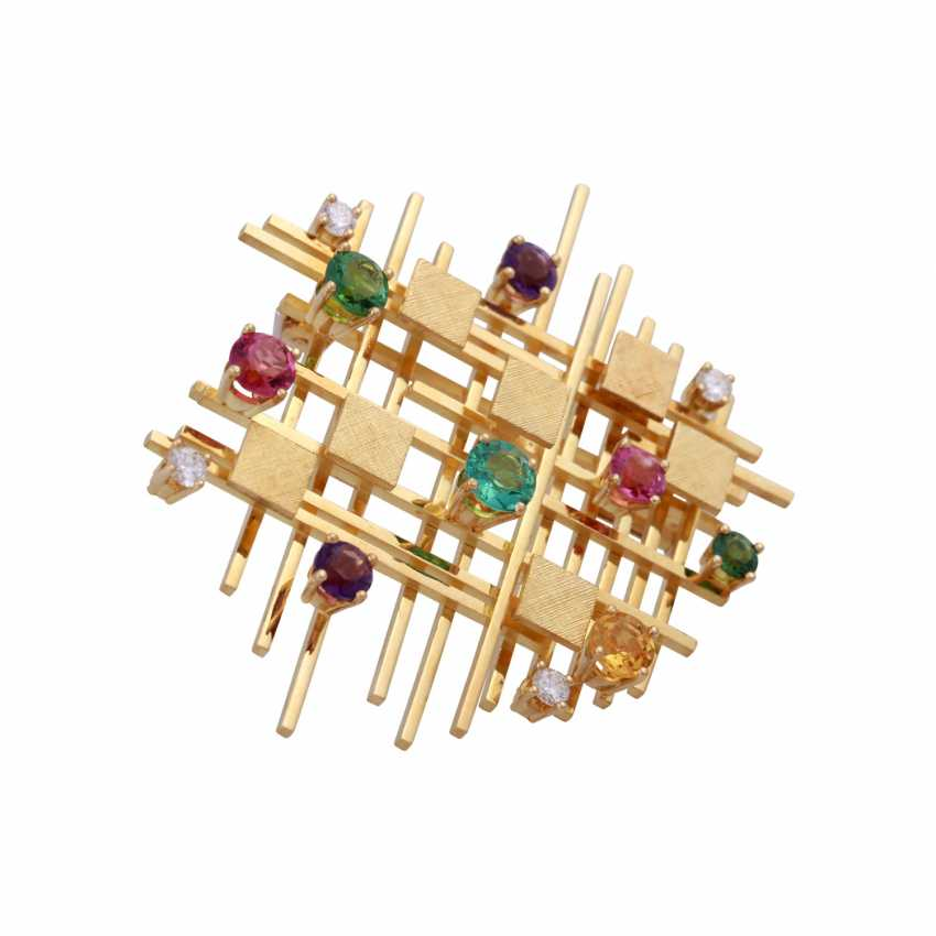Modern brooch with precious stones, - photo 2