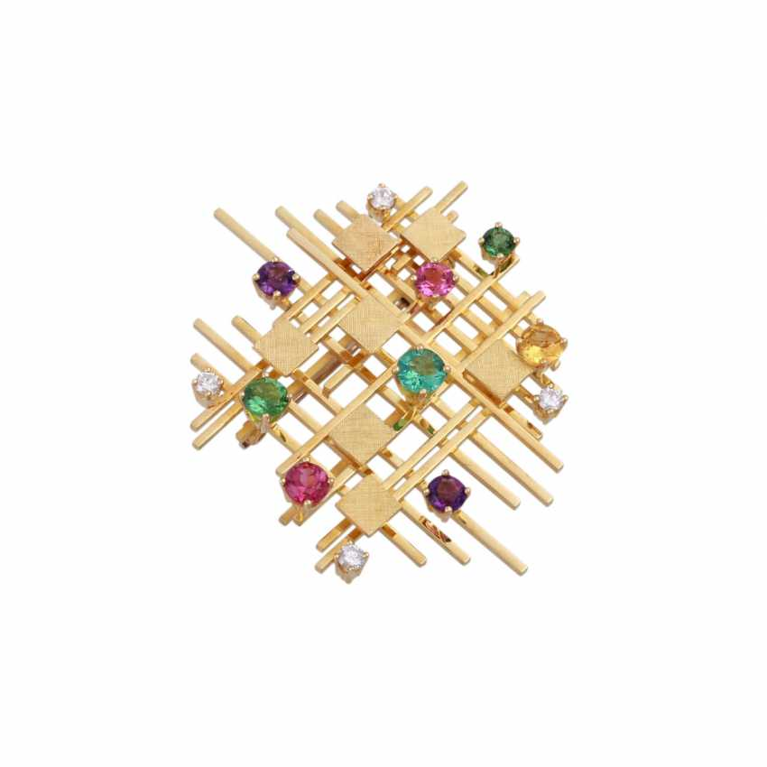 Modern brooch with precious stones, - photo 4