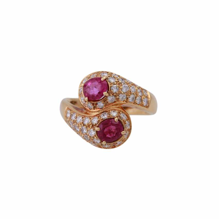 Ring with 2 rubies and brilliant-cut diamonds - photo 1