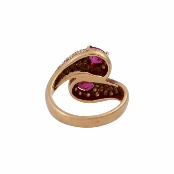 Ring with 2 rubies and brilliant-cut diamonds - photo 4
