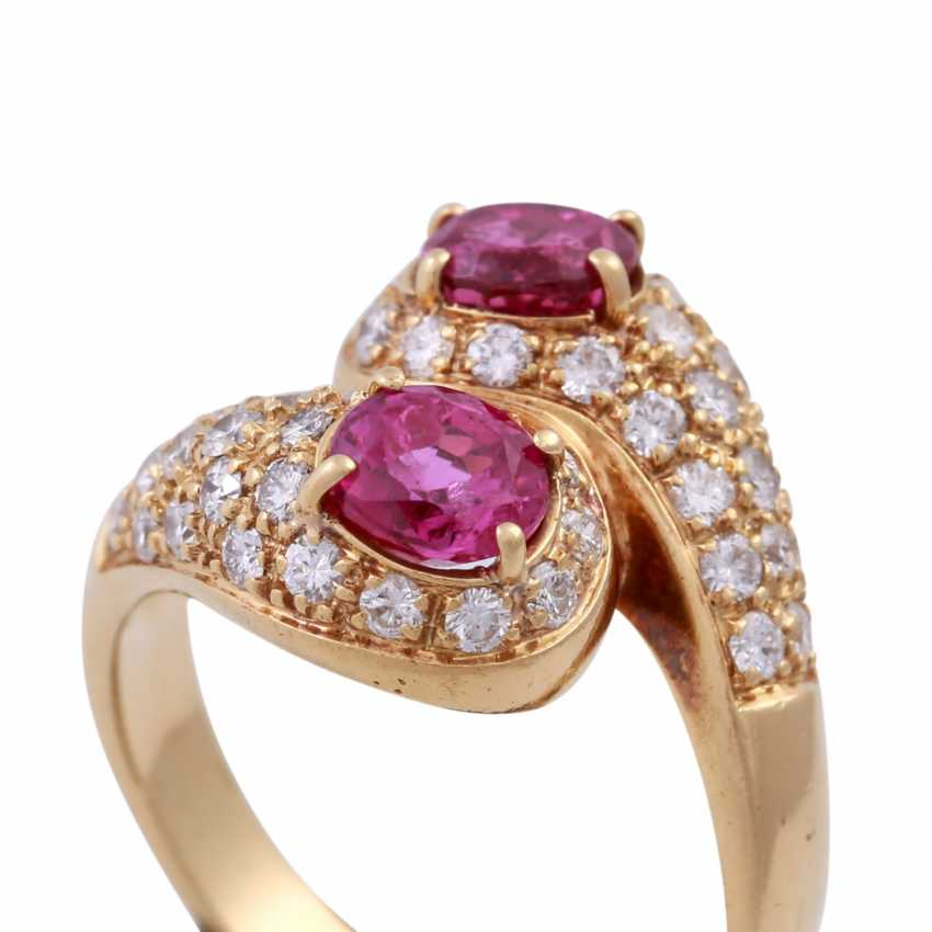 Ring with 2 rubies and brilliant-cut diamonds - photo 5