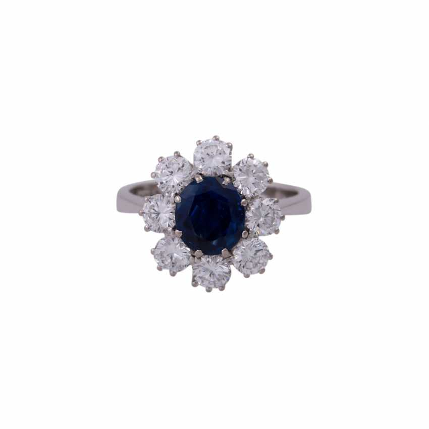 SHILLING Ring with sapphire and diamonds - photo 1