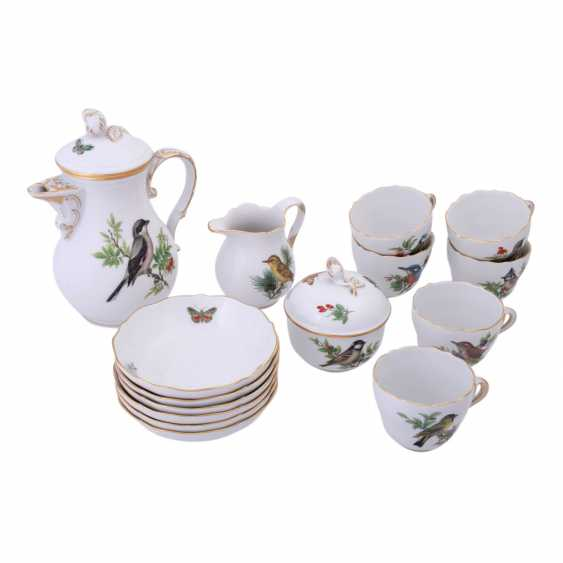 MEISSEN, mocha service for 6 people 'bird painting', 20. Century. - photo 1
