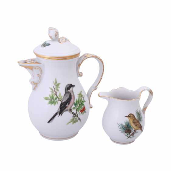 MEISSEN, mocha service for 6 people 'bird painting', 20. Century. - photo 2