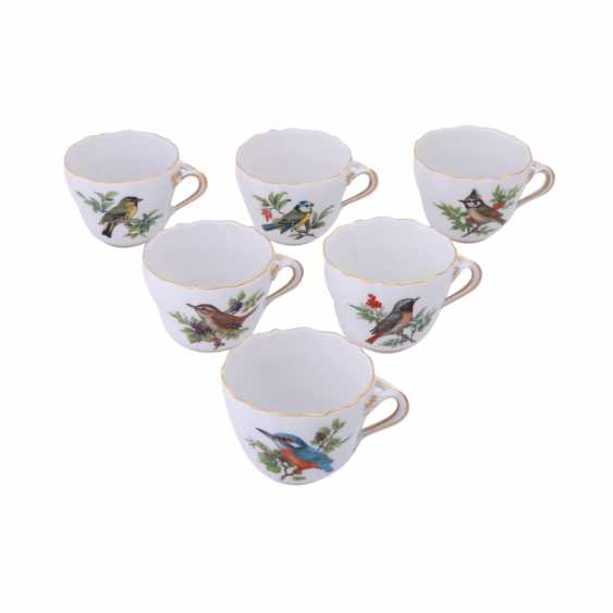 MEISSEN, mocha service for 6 people 'bird painting', 20. Century. - photo 4