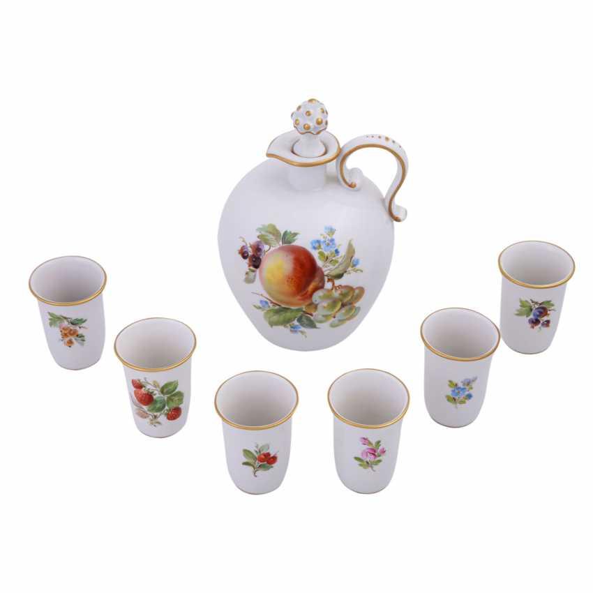 MEISSEN porcelain Sake Service f. 6 persons 'fruit painting', 20. Century. - photo 2