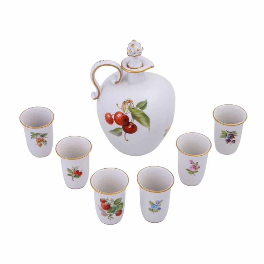 MEISSEN porcelain Sake Service f. 6 persons 'fruit painting', 20. Century. - photo 3