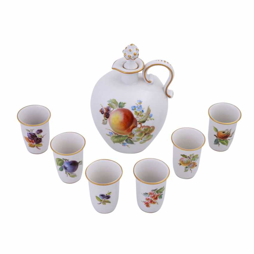 MEISSEN porcelain Sake Service f. 6 persons 'fruit painting', 20. Century. - photo 4