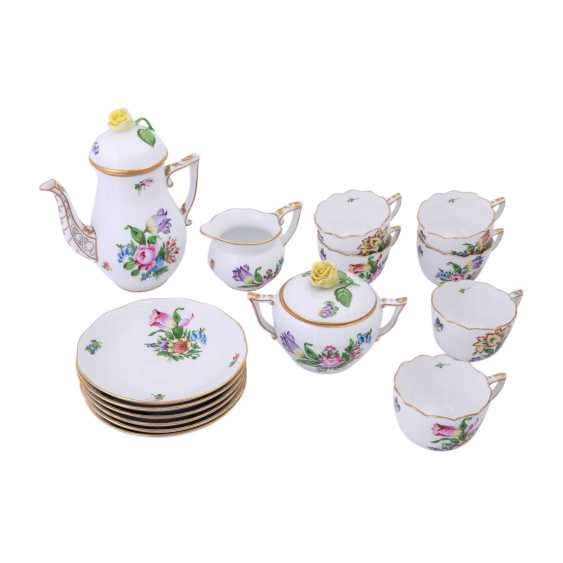 HEREND mocha service for 6 people 'tulips decor', 20. Century. - photo 1