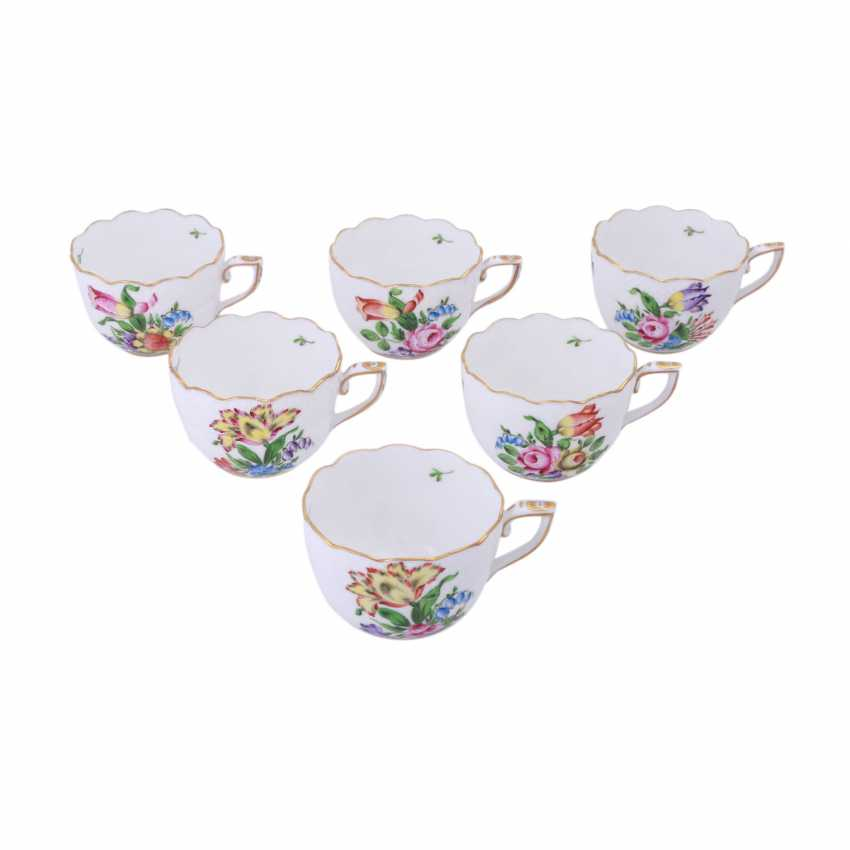 HEREND mocha service for 6 people 'tulips decor', 20. Century. - photo 5