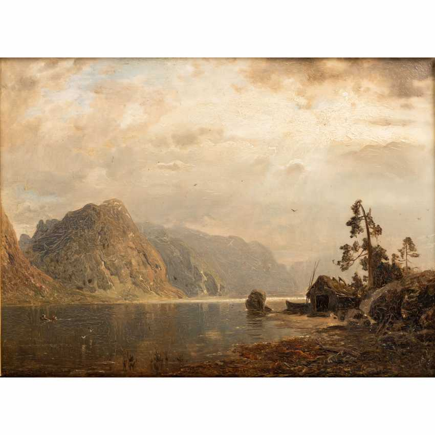 """RASMUSSEN GEORG ANTON (1842-1914), """"fjord landscape with a fisherman's hut in a thunderstorm atmosphere"""", - photo 1"""