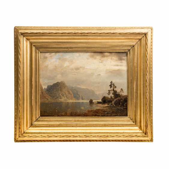 """RASMUSSEN GEORG ANTON (1842-1914), """"fjord landscape with a fisherman's hut in a thunderstorm atmosphere"""", - photo 2"""