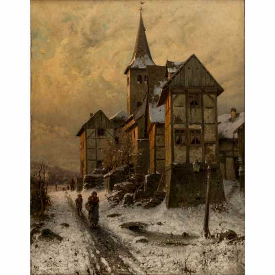"KOKEN, PAUL (1853-1910), ""evening sun over snowy city edge"", - photo 1"